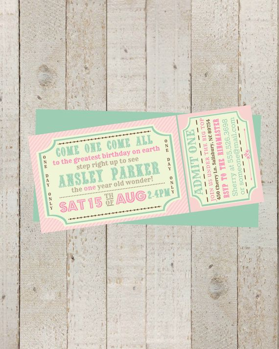 Circus invitation Girls - Vintage circus Birthday invite - Carnival/Circus Ticket Birthday Invitation- printable Invite, Pink Circus Party