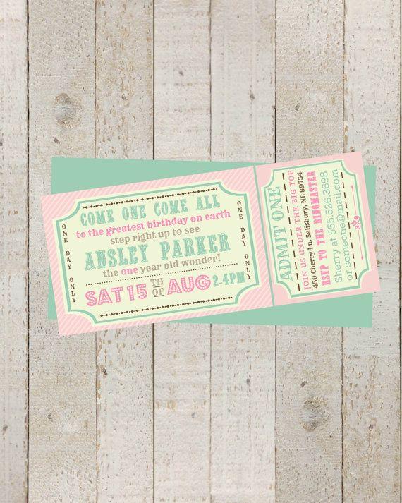 Circus invitation Girls - Vintage circus Birthday invite - Carnival/Circus Ticket Birthday Invitation- printable Invite, Pink Circus Party