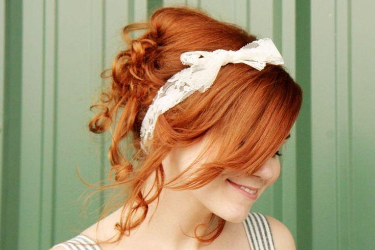 Summer hair bowsHair Ideas, Hair Tutorials, Hair Colors, Lace Headbands, Red Hair, Rag Curls, Hair Style, Redhair, Curly Hair