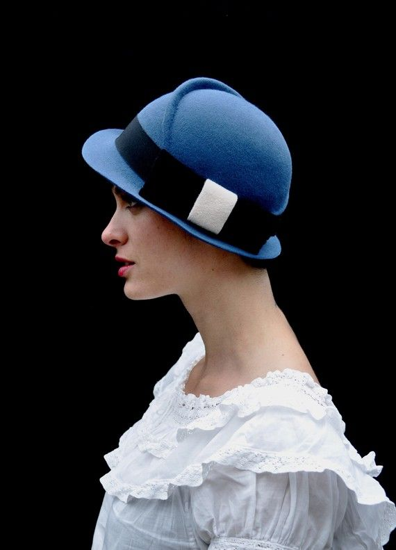 blue hat with black bow made to order by yellowfield7