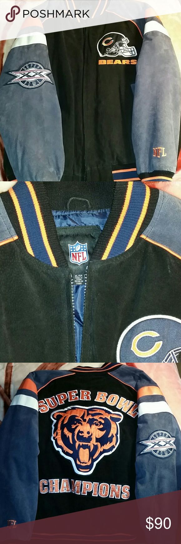 NFL Chicago Bears super bowl  jacket XL/EX Suede w/ leather accents worn twice absolutely flawless!!! NFL  Jackets & Coats Bomber & Varsity