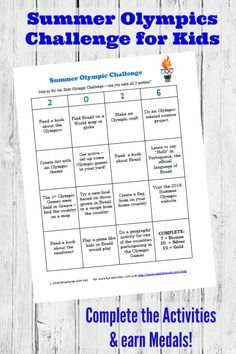 Free printable Olympic Games Challenge for Kids + TONS of Olympic-themed craft & activity ideas coming this summer!