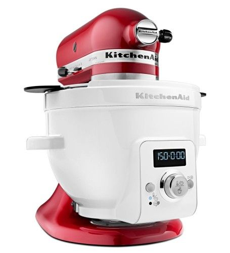Red KitchenAid mixer with special heated mixer bowl. Precise heat for a variety of jobs.