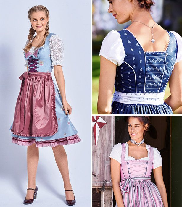 Traditional dirndls for women in various lengths and styles as well as blouses to pair them with.