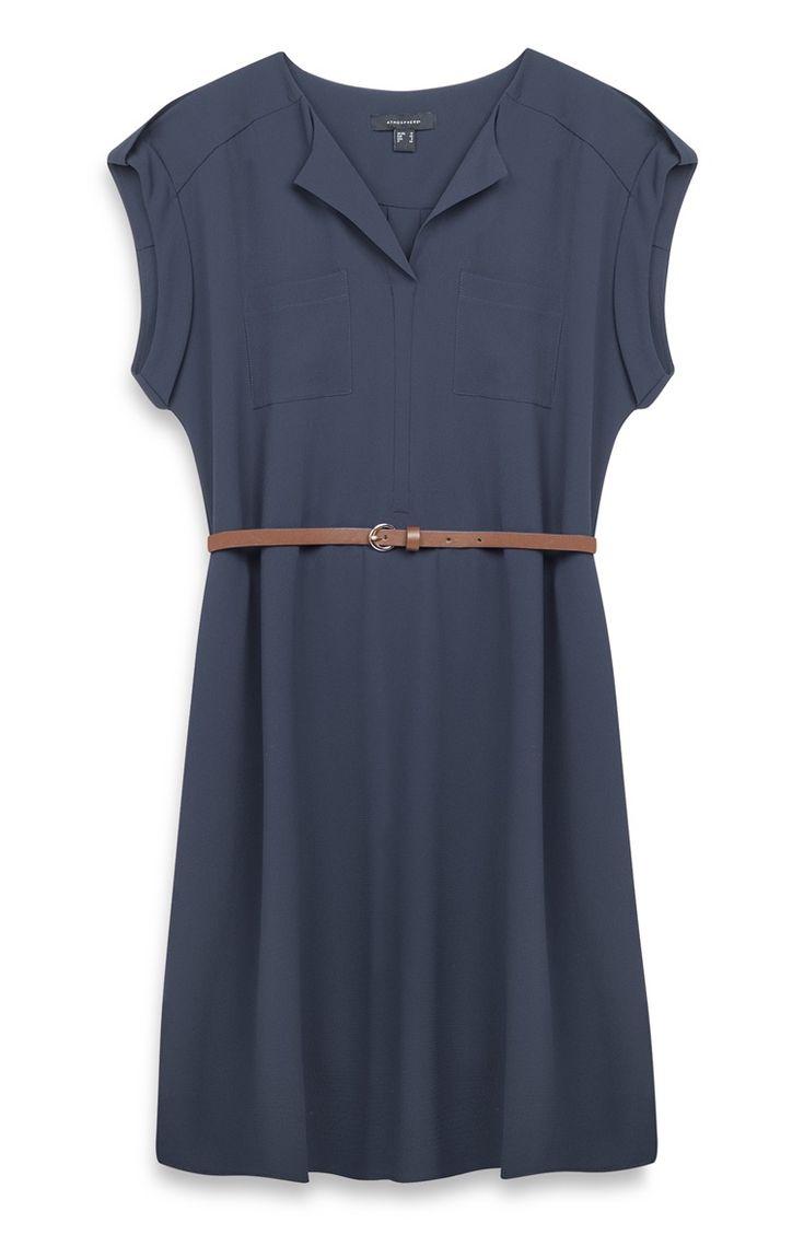 Primark - Vestido crepé azul verdoso con cinturón