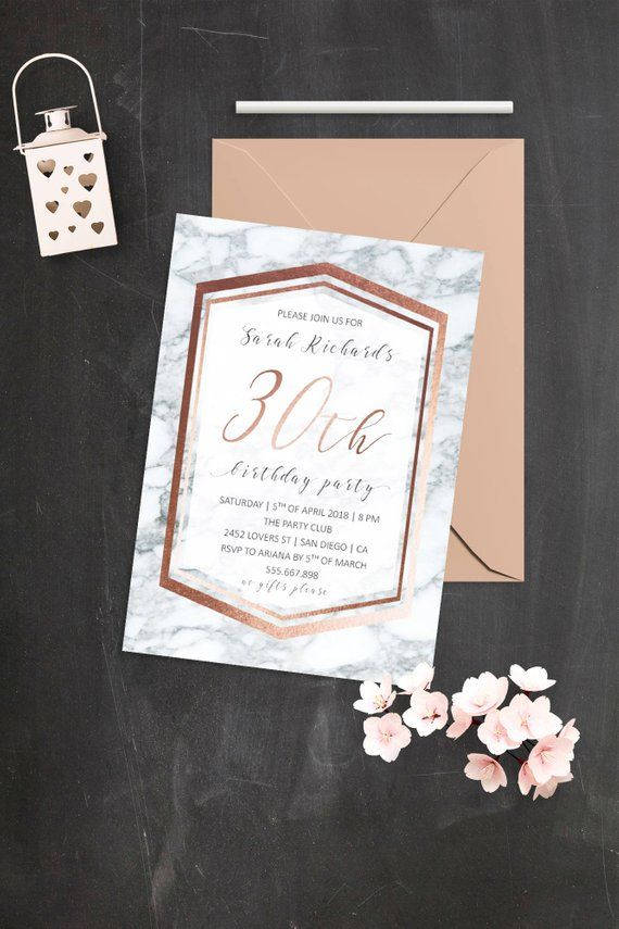 Rose Gold Marble Personalised Birthday Party Invitations 18th 21st 30th 40th