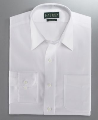 Lauren by Ralph Lauren Dress Shirt, Slim Fit White Twill - Mens Dress Shirts - Macy's