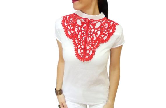 Red Christmas lace statement bib necklace Gothic by HAREMDESIGN