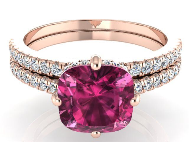 Engagement ring set, Wedding ring set, Custom made Engagement set, Solitaire ring and matching band with Pink Tourmaline and Diamonds by BridalRings on Etsy https://www.etsy.com/listing/256322020/engagement-ring-set-wedding-ring-set