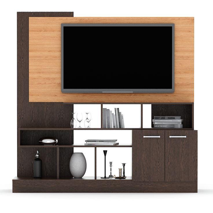 Modular TV Línea Nórdica- Teka Oslo + Olmo Finlandés. Estos diseños están inspirados en la calidez y simpleza de la veta de la madera. abricados totalmente con melamina texturada de 18mm de espesor, estos muebles fueron diseñados con la finalidad de que puedan incluir un Led TV de hasta 60''.