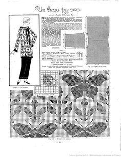 Vintage chart cross stitching / La Femme de France : pyjama rebrodé au point de croix, motifs de papillons et de fleurs.