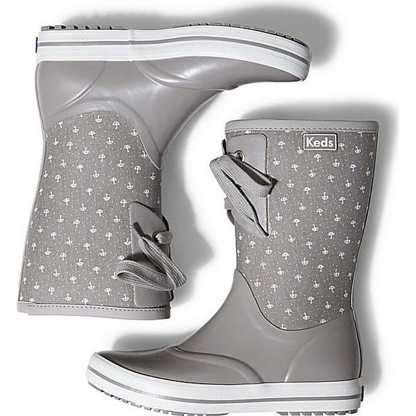 Keds RAINDROP BOOT (105 AUD) ❤ liked on Polyvore featuring shoes, boots, grey umbrella, rubber boots, lace boots, waterproof boots, grey boots and water proof boots