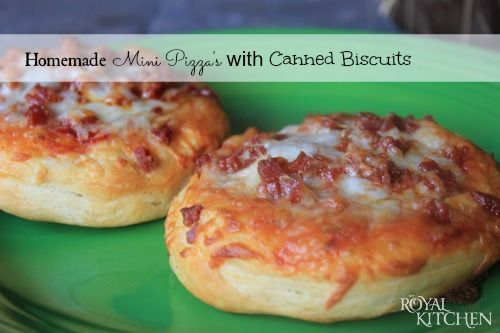 I've used bagels, but never thought of biscuits.  Easy Semi-Homemade Mini Pizza's with Canned Biscuits
