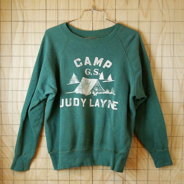 【ビンテージ】USA製60s古着CAMP G.S. JUDY LAYNEグリーンスウェット
