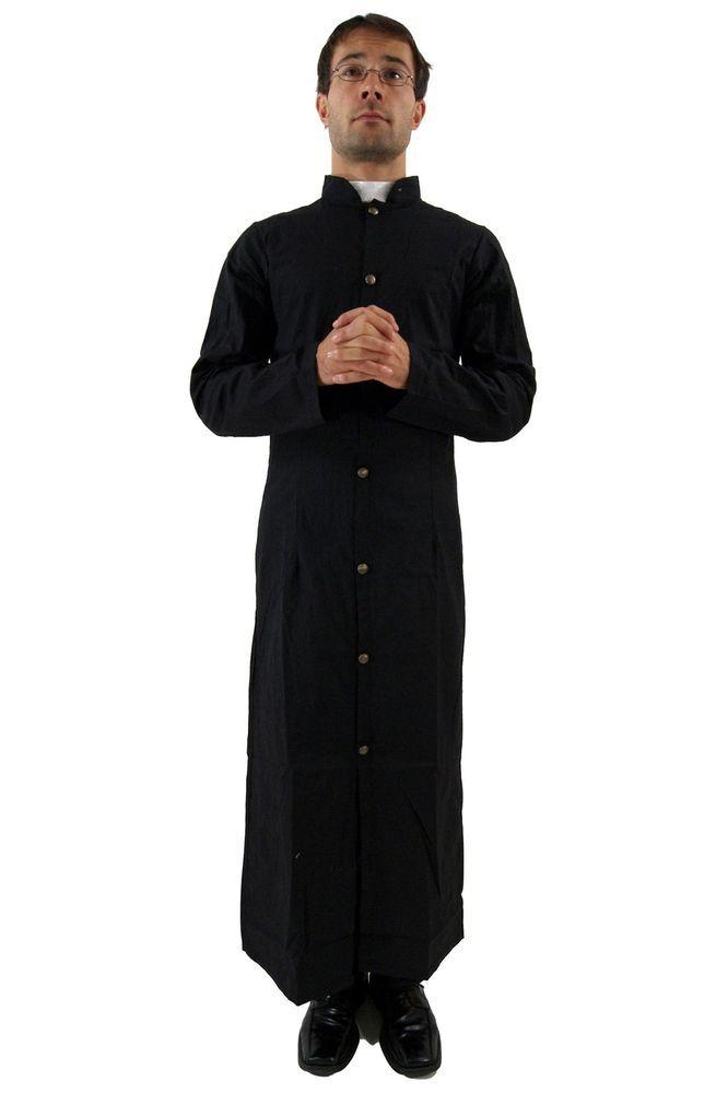 Costume Fancy Dress Priest Pastor Preacher Halloween Black Size M in Men's Fancy Dress | eBay