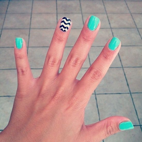 black, white, and turquoise
