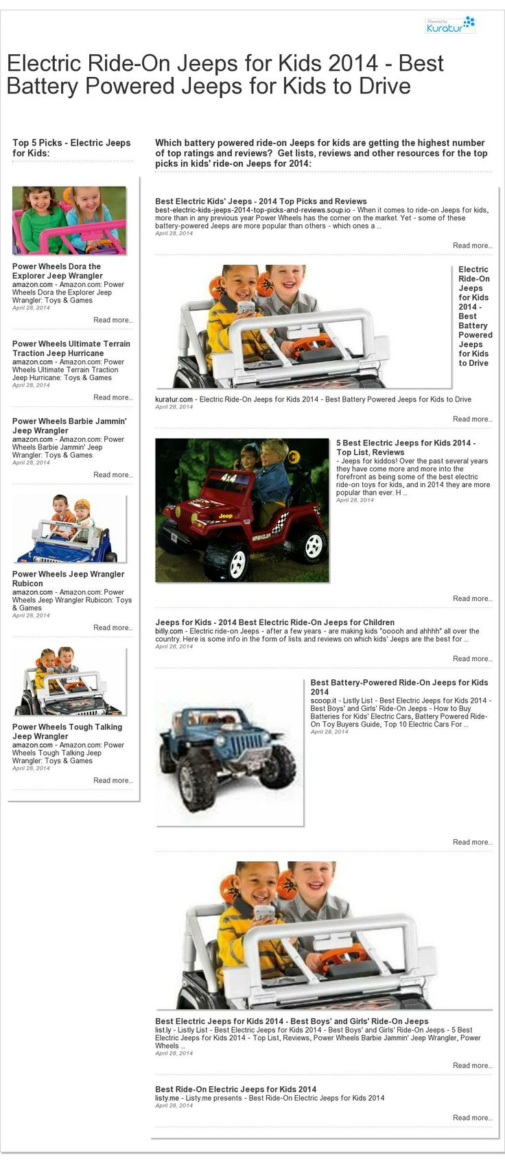 The website 'http://kuratur.com/Top10Store/electric-ride-on-jeeps-for-kids-2014-best-battery-powered-jeeps-for-kids-to-drive.html' courtesy of @Pinstamatic (http://pinstamatic.com)