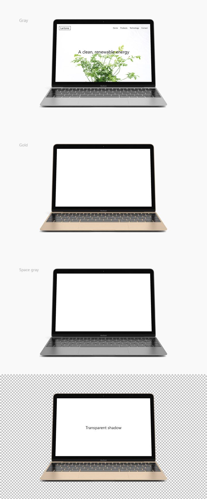 Macbook 2015 mock up available in Gold, Gray and Space gray. The shadow is transparent to allow you to use this mock up everywhere easily. Change quickly the screen content in second with the help of smart object.