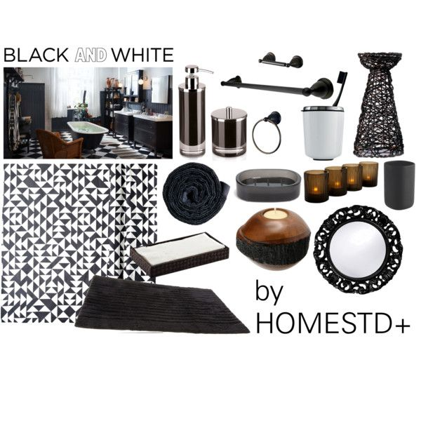 """black and white bathroom"" by rubygrosse on Polyvore"