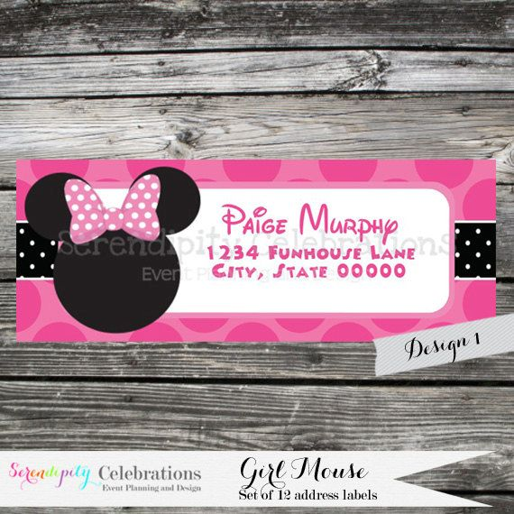 Set of 12 Personalized Printed Address Labels -Girl Mouse -Return Address Labels -Sticker -Mailing Label -Birthday -Baby Shower    ♥