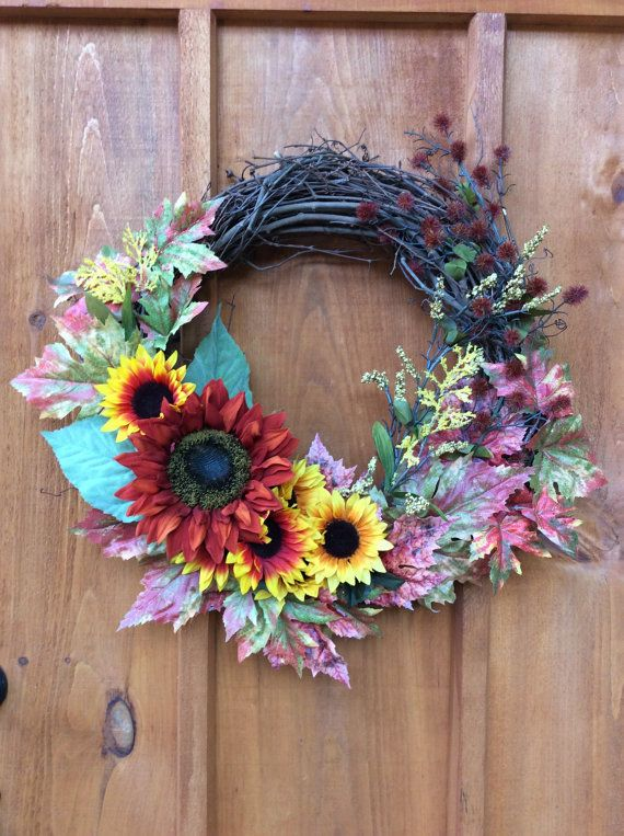Sunflower Wreath, Artificial Silk Flower Grapevine  Wreath, Door Decor, Front Door Wreath, Wall Decor, Made in Canada