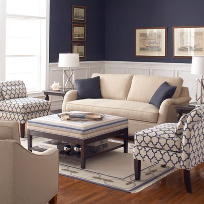 Wainscoting Neutral Couch Statement Chairs Home Decor