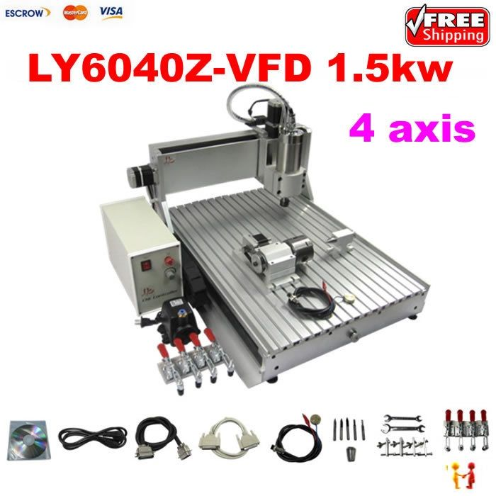 1820.00$  Buy now - http://ali47o.worldwells.pw/go.php?t=32408451040 - Free shipping! 4 axis 6040 3D cnc router engraver drilling and milling machine with 1.5KW for aluminum metal wood stone