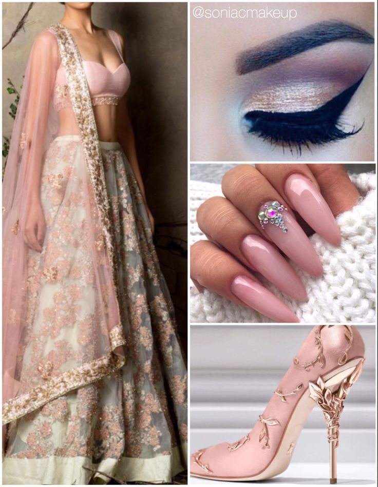 Soft floral bridal inspiration, vintage pink lengha, Ralph Russo shoes, stiletto pink nails, dramatic lashes and matte makeup