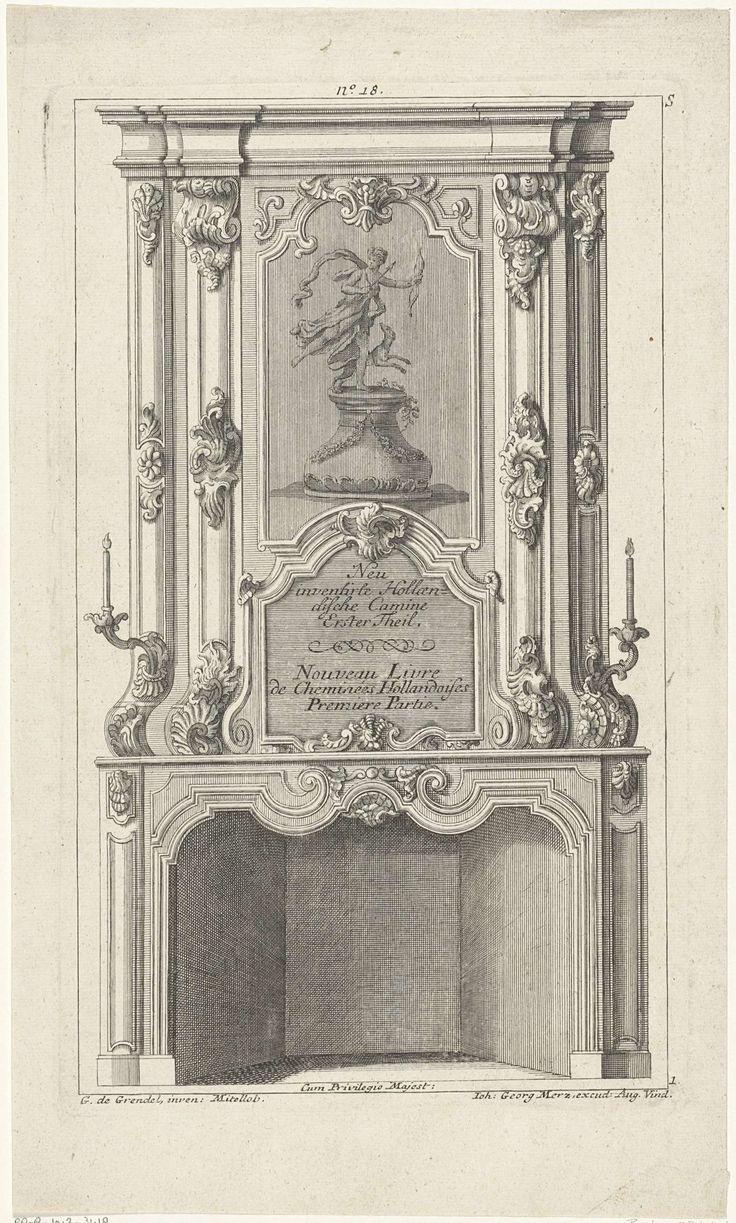 Anonymous | Ontwerp voor een schoorsteen met Diana als godin van de jacht, Anonymous, Johann Georg Merz, unknown, 1709 - 1762 | Ontwerp voor een schoorsteen met een voorstelling van Diana met pijl en boog in de handen en een jachthond op een voetstuk. De schoorsteenmantel is versierd met rocailleornamenten en voluten. Aan weerzijden een kandelaar. Midden boven genummerd: No. 18.