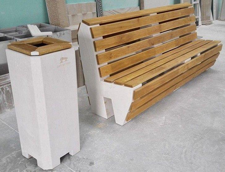 Panchina e pattumiera in pietra di Apricena e legno