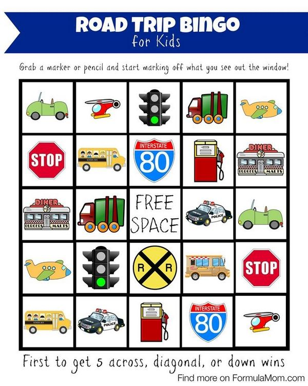 Planning a Family Road Trip with Young Kids (with Bingo Game printable!) | http://formulamom.com/planning-a-family-road-trip-with-young-kids/