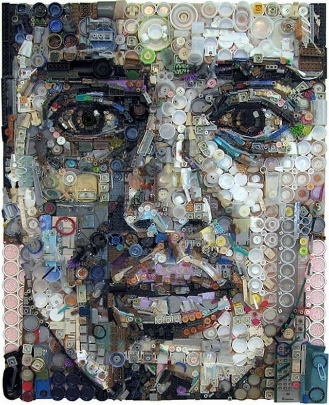 Portrait out of found objects. Beautiful