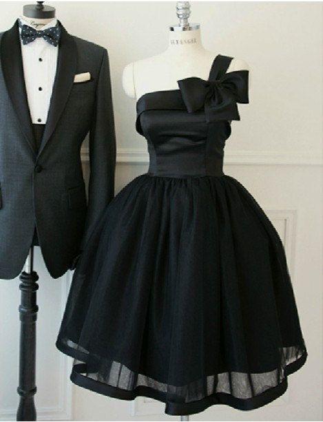 Black one-shoulder strap neckline knee-length A-line ruched tulle satin plus size prom bridesmaid dress homecoming dress ET262