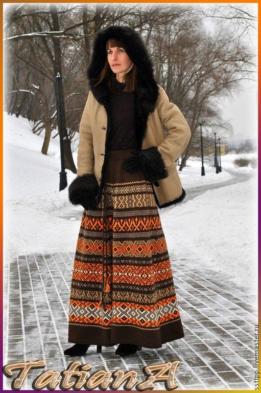 "Вязаная жаккардовая юбка ""Pattern"". Handmade."