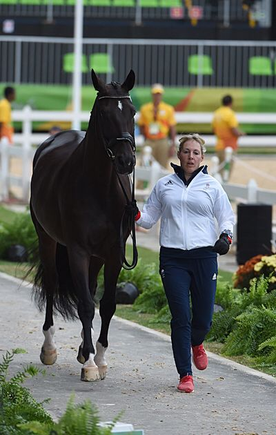 Fiona Bigwood and Atterupgaards Othilia at the Olympic dressage trot up