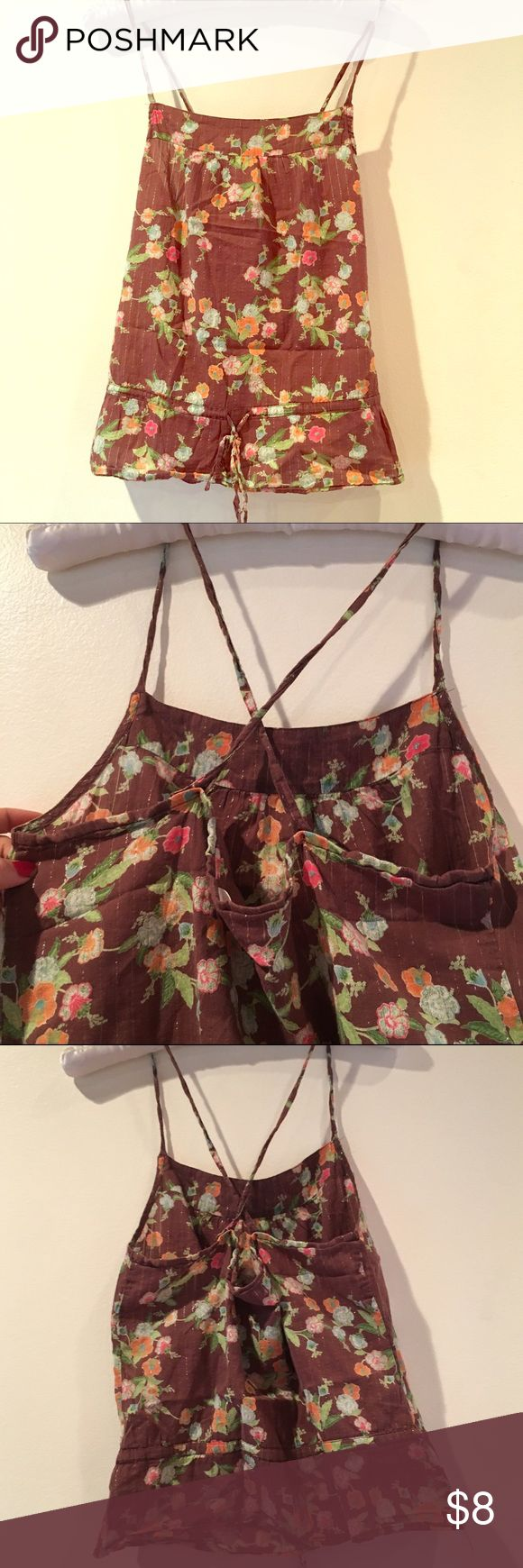 Boho top Brown with floral pattern and silver pinstripes. Drawstring waist, crissXcross back. Arizona Jean Company Tops Tank Tops