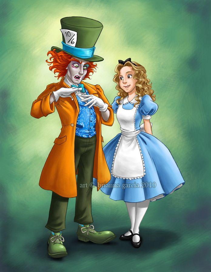 Tim Burton's Hatter and Alice swap costumes with Disney's Hatter and Alice. #briannacherrygarcia