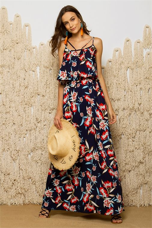 <ul>     <li>Μaxi φόρεμα</li>     <li>Διπλές λεπτές τιράντες</li>     <li>Λάστιχο κάτω από το στήθος</li>     <li>Άνοιγμα στην πλάτη</li>     <li>Floral σχέδια</li>     <li>Αέρινη γραμμή</li> </ul>
