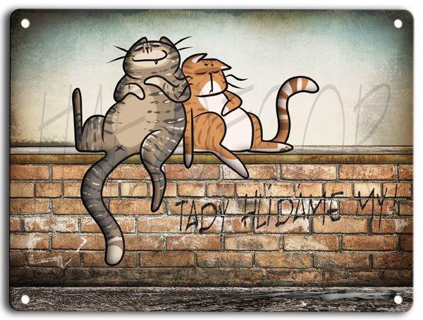 Plechová cedulka - kočky na zídce- mourovaté