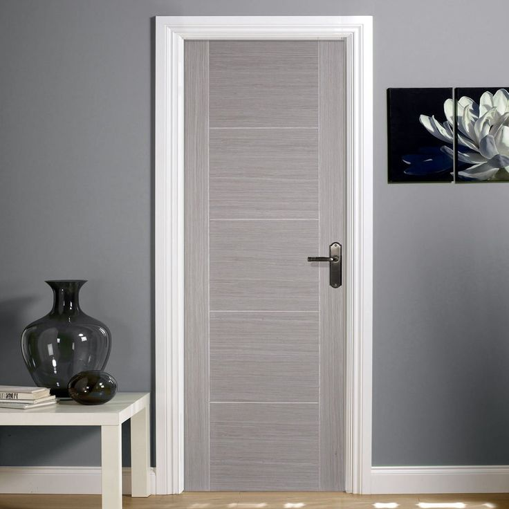 Door Set Kit, Light Grey Vancouver Door - Prefinished. #unfinisheddoorsetkit #moderndoorsetkit #moderndoor