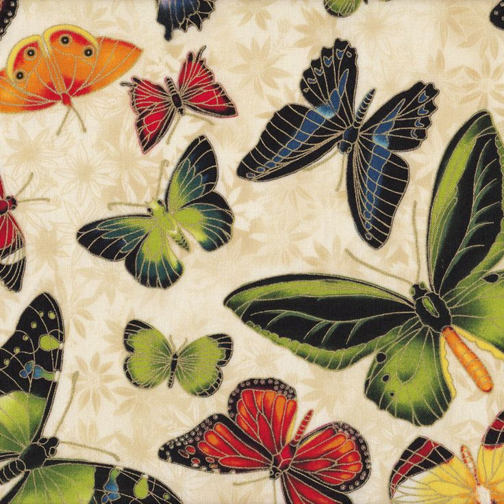 Australian Sun Blue Green Butterflies Quilting Fabric - Find a Fabric.  Available to purchase in Fat Quarters, Half Metre, 3/4 Metre, 1 Metre and so on.