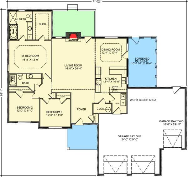 Plan 77618FB: Lovely Brick Ranch House Plan