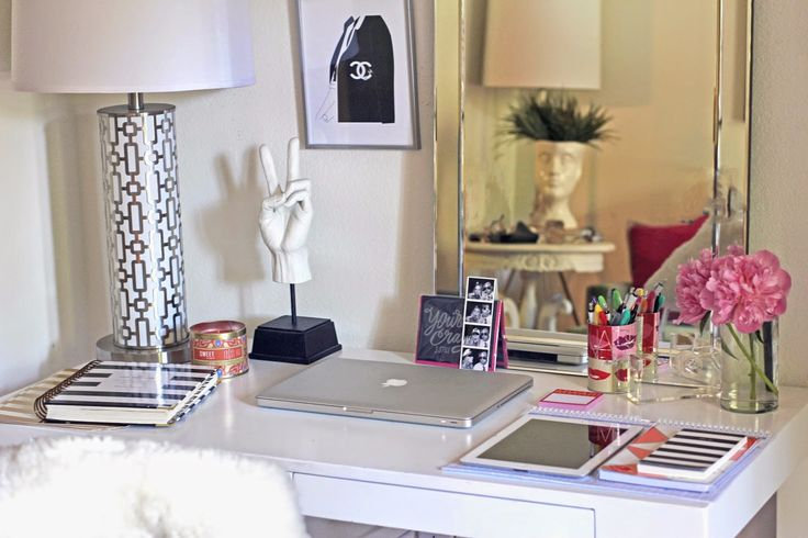 Girly, modern, and chic work space.