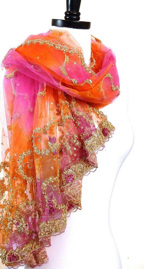 Large Orange Scarf Pink and Orange Scarf Indian by MiriTextiles, $70.00