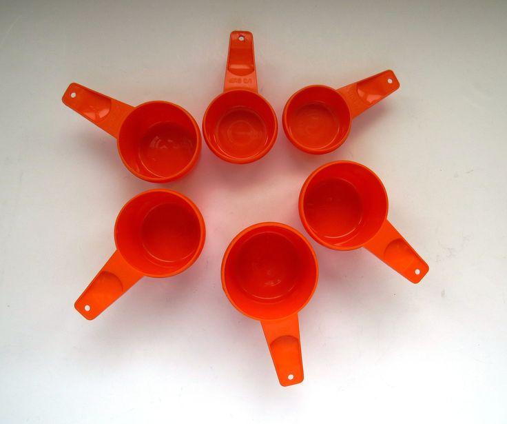 Tupperware Measuring Cups - Set of 6 - Harvest Orange - Retro Vintage Tupperware - Baking Master Chef - Kitchen Prep Tools - Molded Plastic by shabbyshopgirls on Etsy