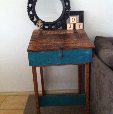 Train Station Master Box Writers Desk. Vintage Antique Wood Table Cabinet