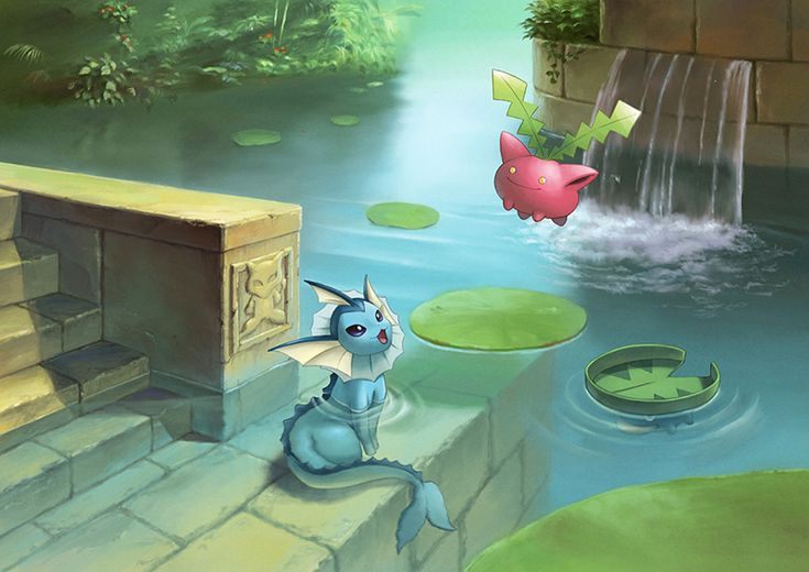 :3 afloat artist_request atelier_pocket blue_eyes floating hieroglyphics hoppip in_water lily_pad looking_up lotad mew no_humans open_mouth plant pokemon ripples sitting smile stairs tail vaporeon water