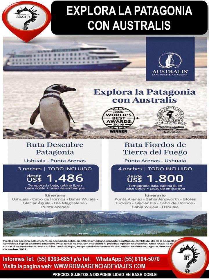 """EXPLORA LA PATAGONIA CON AUSTRALIS  Llámanos al 4172-0263 y/o 6363-6851 Mándanos un Whatsapp al 55 6104-5070 escríbenos al correo: buzon@romaagenciadeviajes.com También puedes visitar la pagina web: www.romaagenciadeviajes.com donde pulsando el botón de BOLETOS podrás reservar en linea las 24 hrs del día Boletos Aéreos, Hoteles y Paquetes y aprovechar los meses sin intereses con las tarjetas participantes.  """"El mejor de los viajes es el próximo"""" Viaja con Roma Agencia de Viajes"""