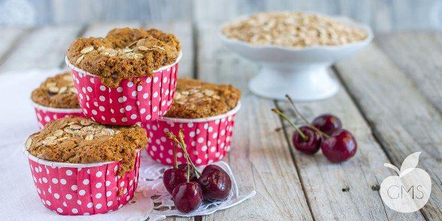 Muffin all'avena e ciliegie - #Ricetta  #salute #benessere #vegan #light