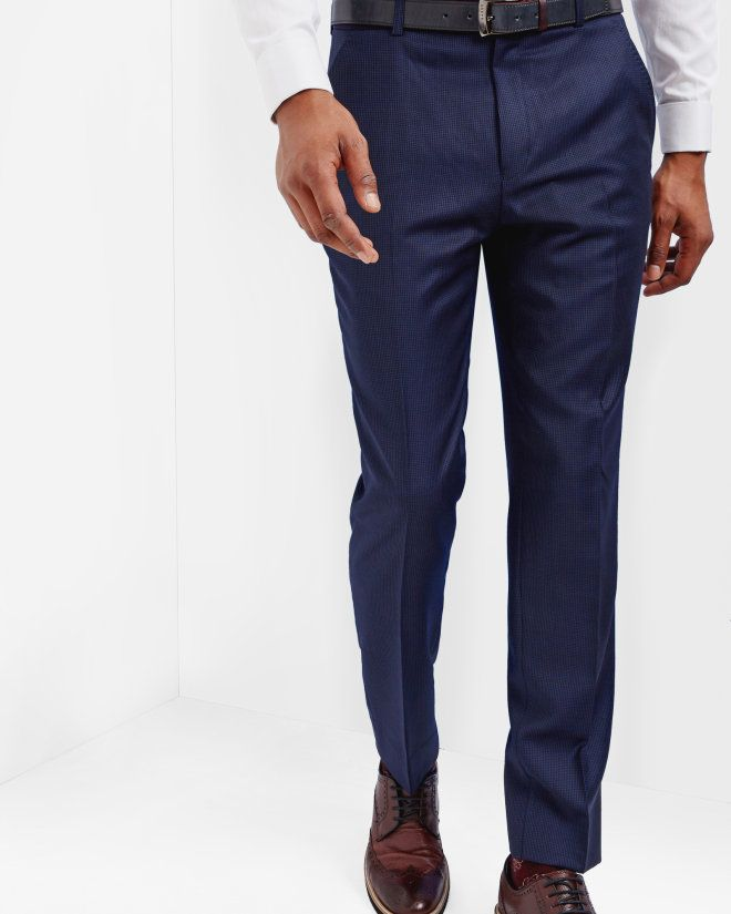 Micro check wool trousers - Blue   Suits   Ted Baker UK